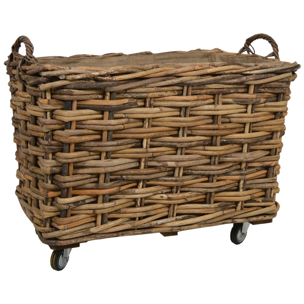 Bamboo Rattan Rectangle Extra Large Storage Log Basket with Wheels & Hoop Handles W85 x D55 x H78cm/ Toy Box/Wicker Bin Wovenhill