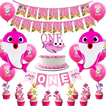 Kreatwow Shark 1st Birthday Decorations - Pink Shark One ...