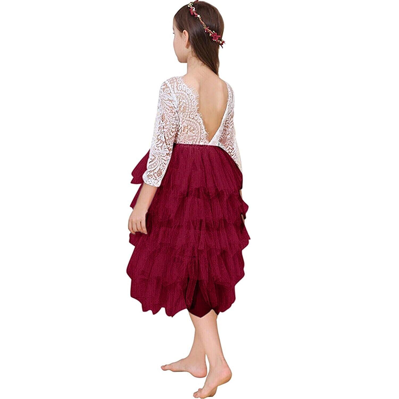 Lace Back Flower Girl Dresses