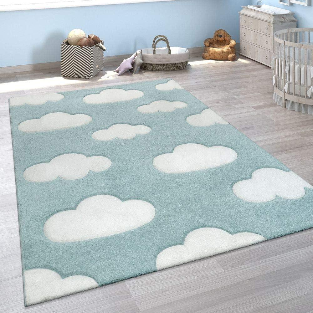 tama/ño:/Ø 120 cm Redondo Alfombra Infantil Adorable Colores Pastel Motivo Nubes Pelo Corto En Azul Blanco