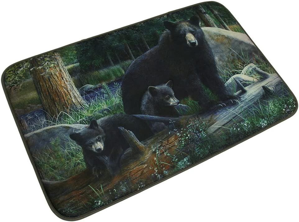 Microfiber Memory Foam Black Bear Family Bath Mat