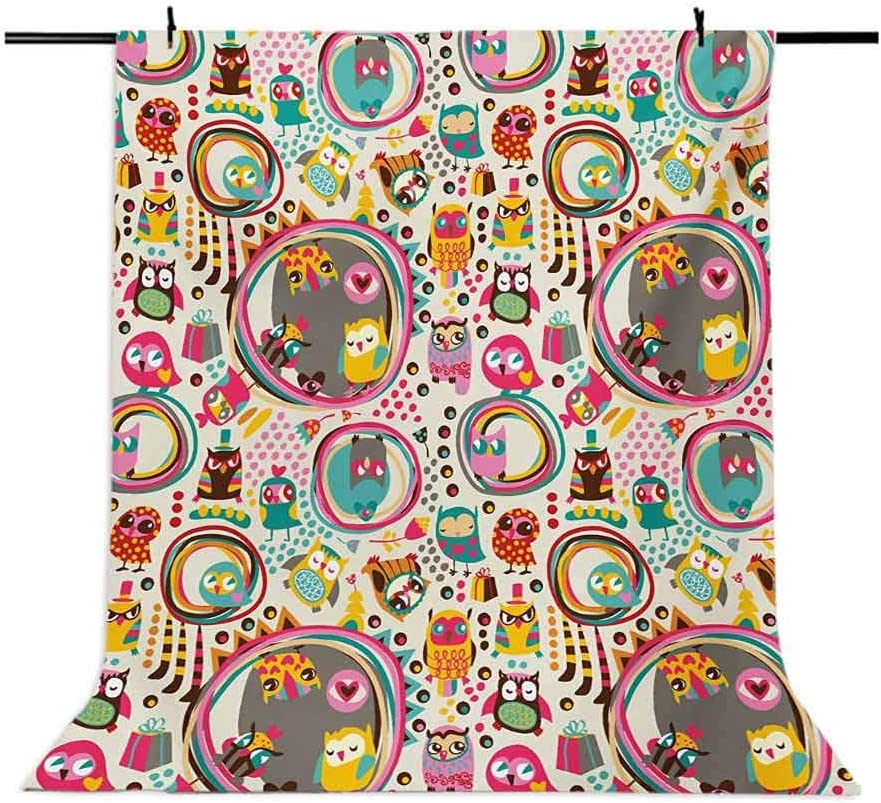 Owl 6x8 FT Backdrop Photographers,Cartoon Style Funny Avian Animals Design with Colorful Dots and Triangles Forest Doodle Background for Party Home Decor Outdoorsy Theme Vinyl Shoot Props Multicolor