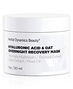 HD Beauty Hyaluronic Acid & Oat Overnight Recovery Mask with Tremella Mushroom, Aloe and Broccoli Extract for Calming Hydration, 1 oz.