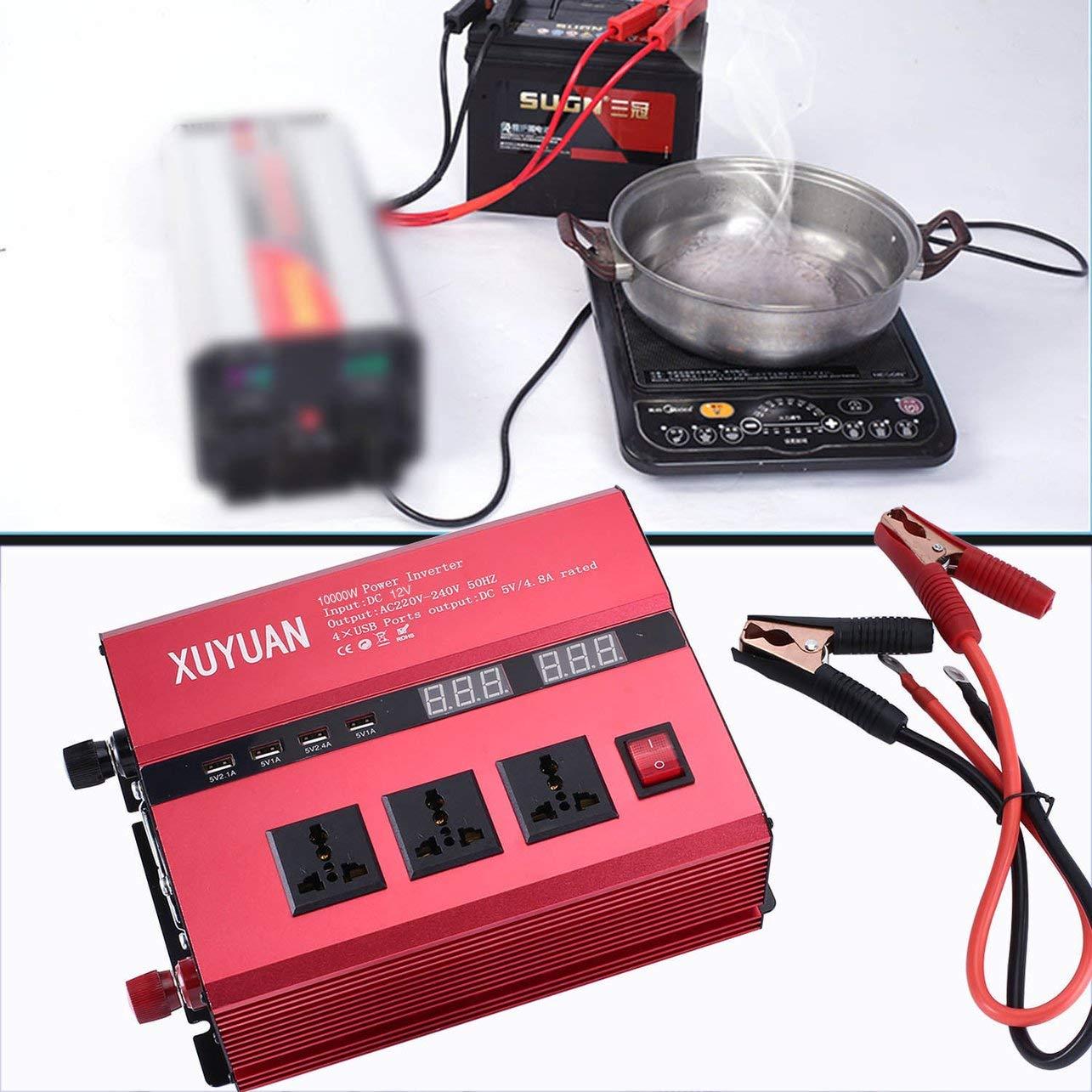anzeigen 10000W Sonnenenergie-Inverter USB-LED AC//DC Sinus-Konverter rot