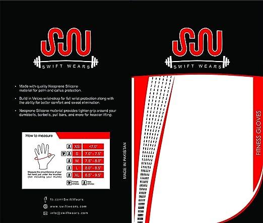 Swiftwears Guantes de gimnasio con muñequeras para levantamiento de pesas, ejercicio y fitness: Amazon.es: Deportes y aire libre