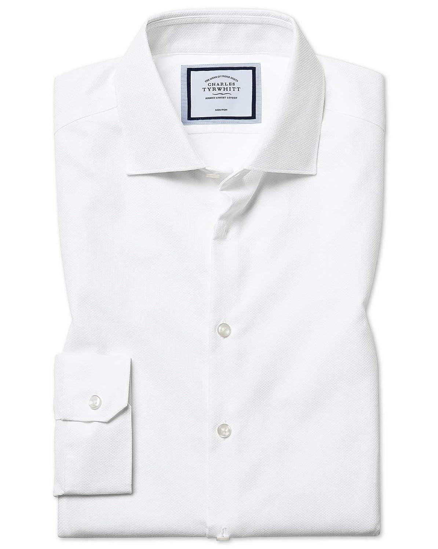 Chemise Texturée NaturelleHommest Stretch Blanche Super Slim Fit Sans Repassage   Blanc (Poignet Simple)   14.5   33