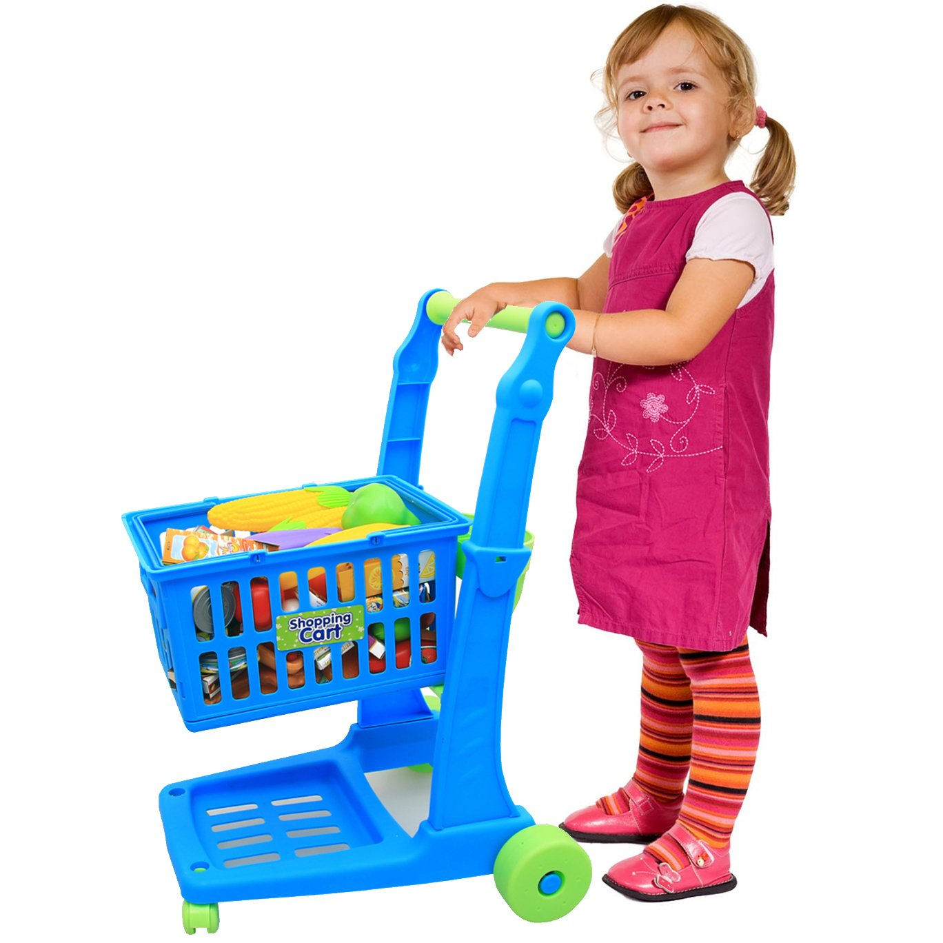 Liberty Imports Deluxe Shopping Cart Toy with Groceries | Supermarket Trolley with Removable Basket Cart | Pretend Play Food, Fruits, Vegetables Set for Kids (76 Pieces)