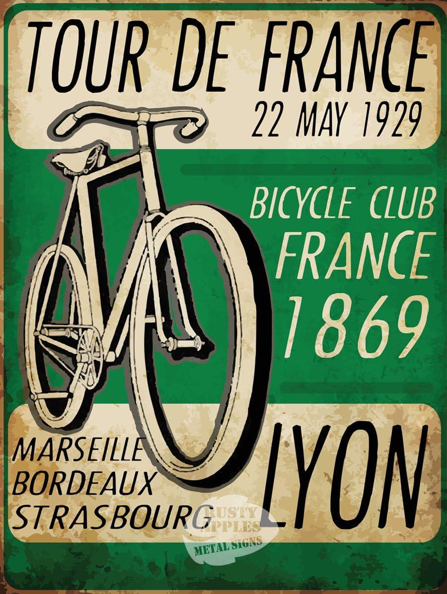 SHAWPRINT Tour de France 1925/Pancarte//Plaque en m/étal de Style r/étro en /étain Plaque Murale Fantaisie Cadeau Shabby Chic