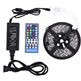 LED Strip Lights Waterproof RGB Warm White led lights DC 12 v 5050 16.4FT 300LED With 40Keys IR Remote Controller and 5A Power Supply for Christmas Holiday Festival Party Home Garden Decoration