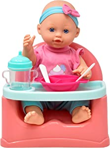 Gift Boutique Baby Doll Feeding Set, 14 Inch Doll, Booster Seat High Chair Feeding Table with Food Tray, Bib, Bottles and Pretend Play Feeding Accessories for Kids and Toddlers