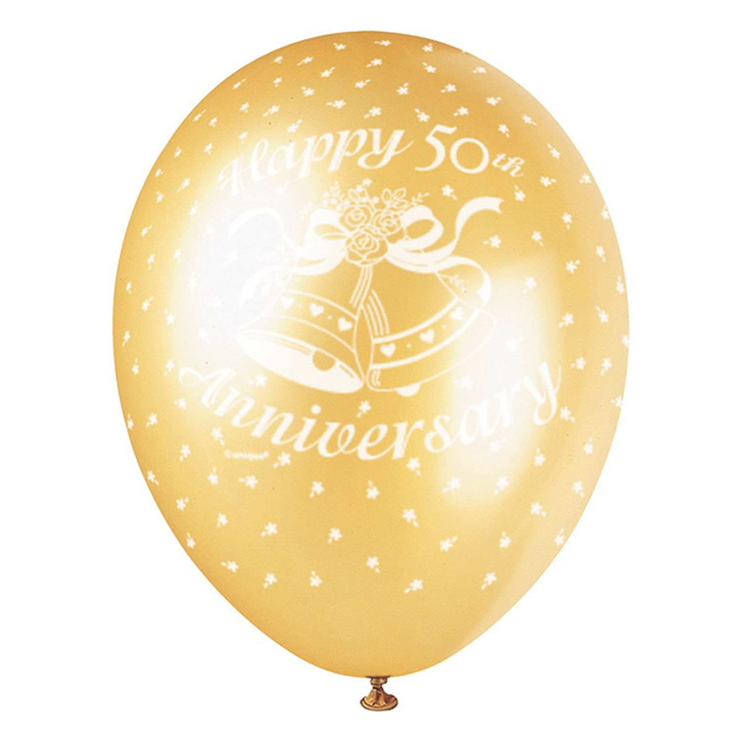Unique Party 50th Anniversary Latex Balloons (Pack Of 5) (One Size) (Gold/White) UTSG5005_1
