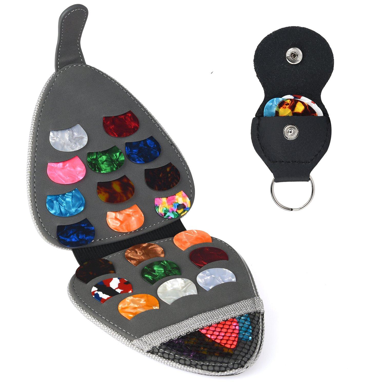 Guitar Pick Holder Case Bag with 24pcs Acoustic Electric Guitar Colorful Picks 0.46mm/ 0.71mm/ 0.96mm + Little Picks Holder Set PlasMaller LICHUAK-201