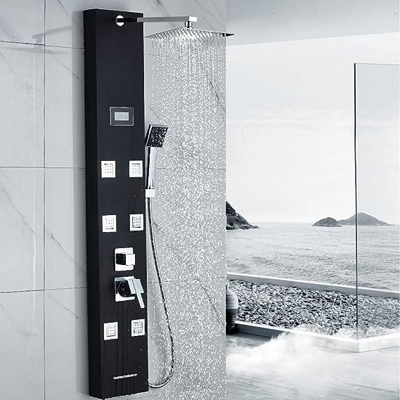 OBEEONR Negro Conjunto de Ducha Termostática Set de Ducha Grifos de Ducha+Panel de Ducha: Amazon.es: Hogar