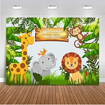 Safari Baby Shower Safari Animals Backdrop Candy Table Backdrop Jungle Safari Candy Table Backdrops Happy Birthday Photography Background