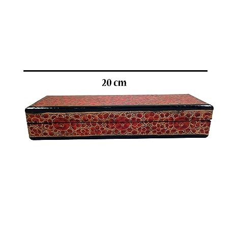Pintado a mano – caja de papel kashmiri para manualidades, caja decorativa multiusos de almacenamiento