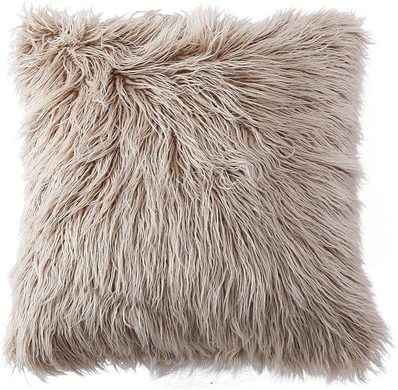 Amazon Com Ojia Deluxe Home Decorative Super Soft Plush Mongolian Faux Fur Throw Pillow Cover Cushion Case 18 X 18 Inch Light Coffee Home Kitchen