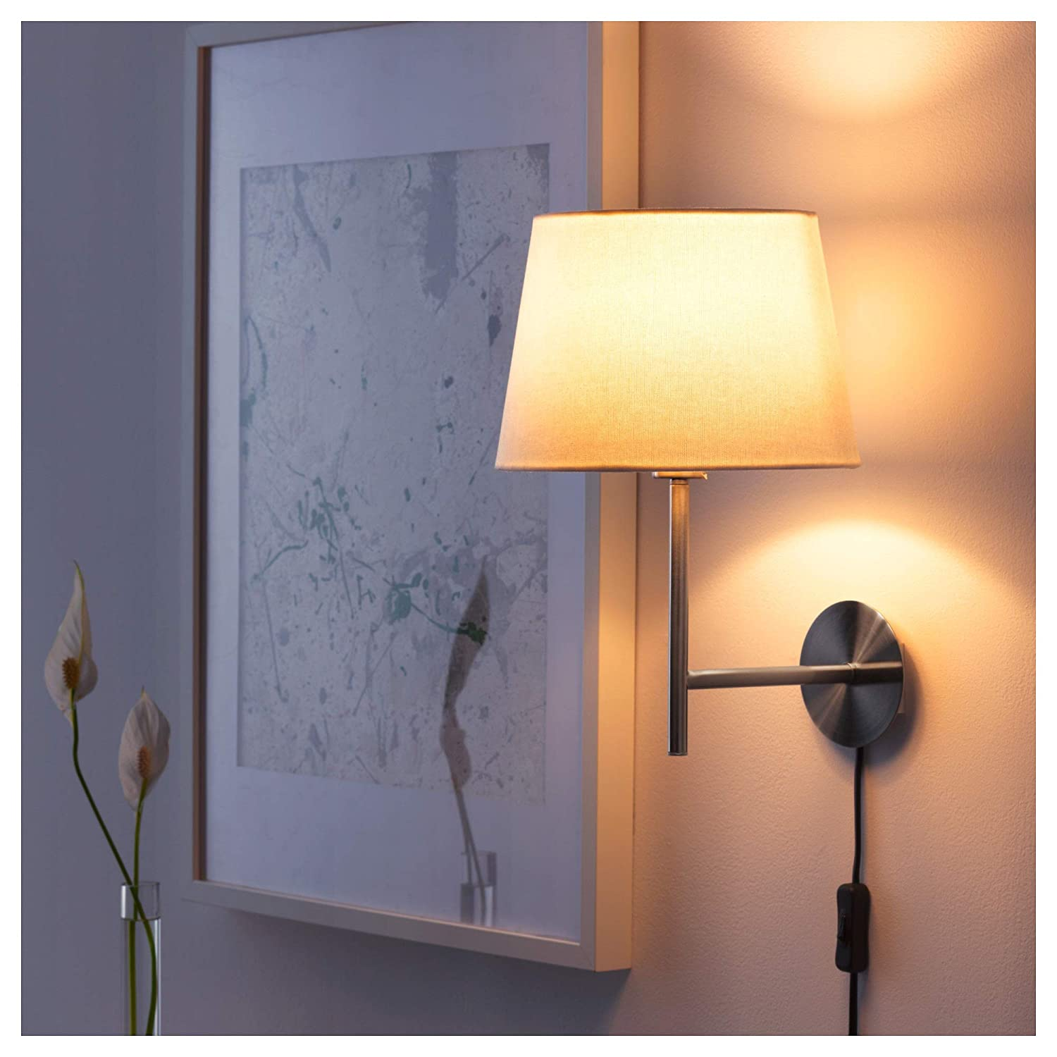 IKEA 804.161.61 Rodd Wall Lamp with Led Bulb Nickel Plated