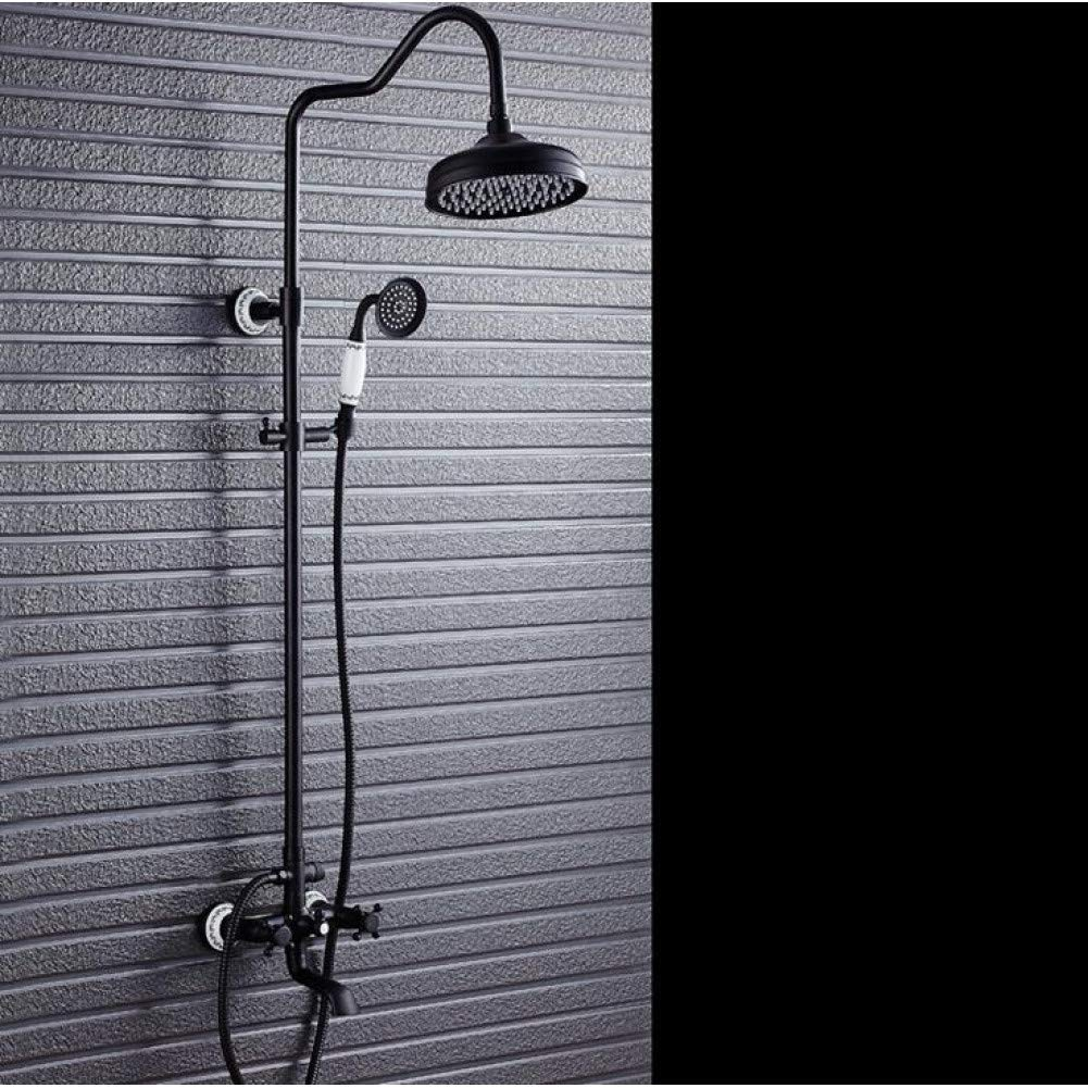 DFRQJHQGH Black Full Copper Rain Shower Set Black Bronze Retro Antique Shower Set Shower Faucet