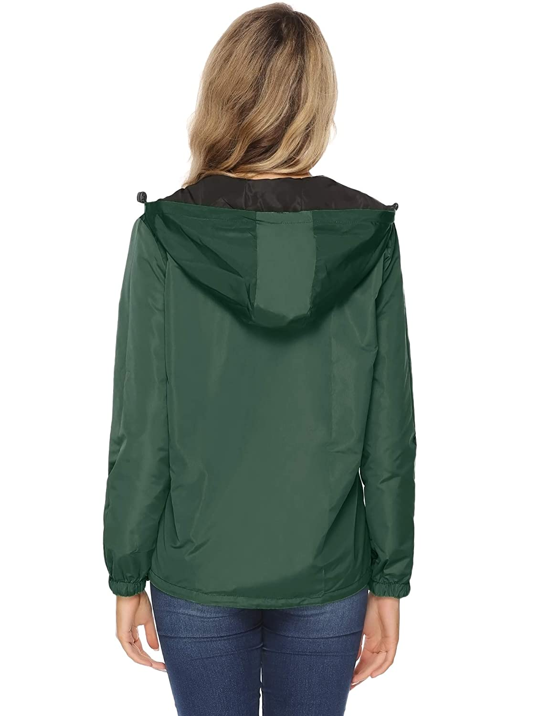 Abollria Damen Regenjacke Zweiseitig Tragbare Kurze Jakce Leichte wasserdichte /Übergangjacke Kontrastfarben