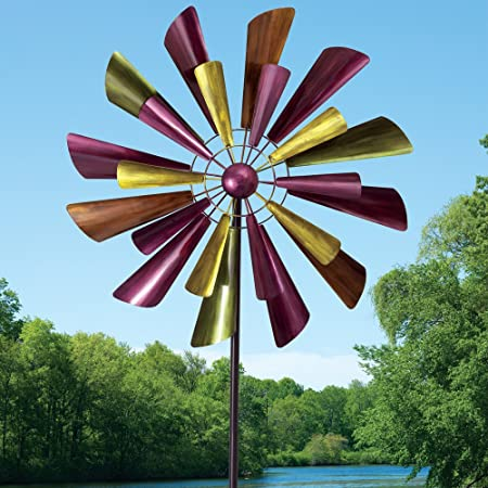 Unique Outdoor Lawn and Garden D/écor Bits and Pieces 60 Two Level Windspinner Autumn Palette Wind Spinner