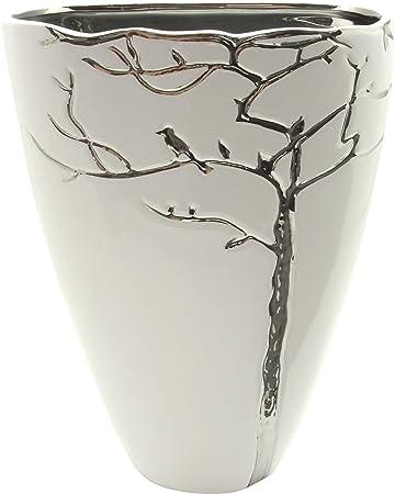 Moderne Dekovase Blumenvase Tischvase Vase aus Keramik Silber//grau Höhe 18 cm