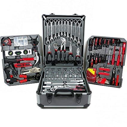 Caja de herramientas de estilo maletín con ruedas, con 187 piezas profesionales