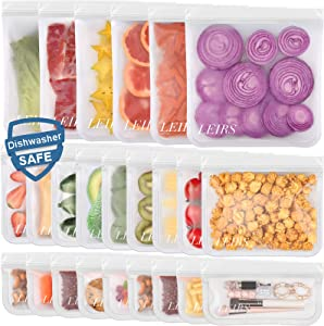 Dishwasher Safe Reusable Food Storage Bags 24 Pack ( 6 Reusable Gallon Bags & 9 Reusable Sandwich Bags & 9 Reusable Snack Bags ) Leakproof Silicone and Plastic Free Resealable Lunch Bag (24 Pack - 6 Gallon 9 Sandwich 9 Snack Bags)