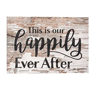 P. Graham Dunn This is Our Happily Ever After Whitewash 10 x 7 Wood Boxed Pallet Wall Plaque Sign