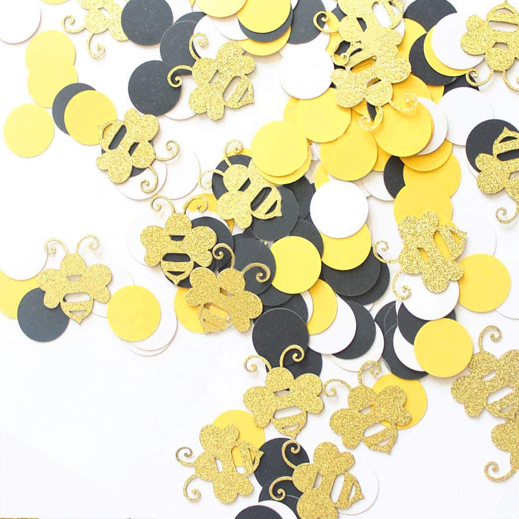 180 Bumble Bee Glitter Confetti Black Yellow Party Decoration Circle Confetti Gender Reveal Bee Baby Shower First Birthday Table Scatters