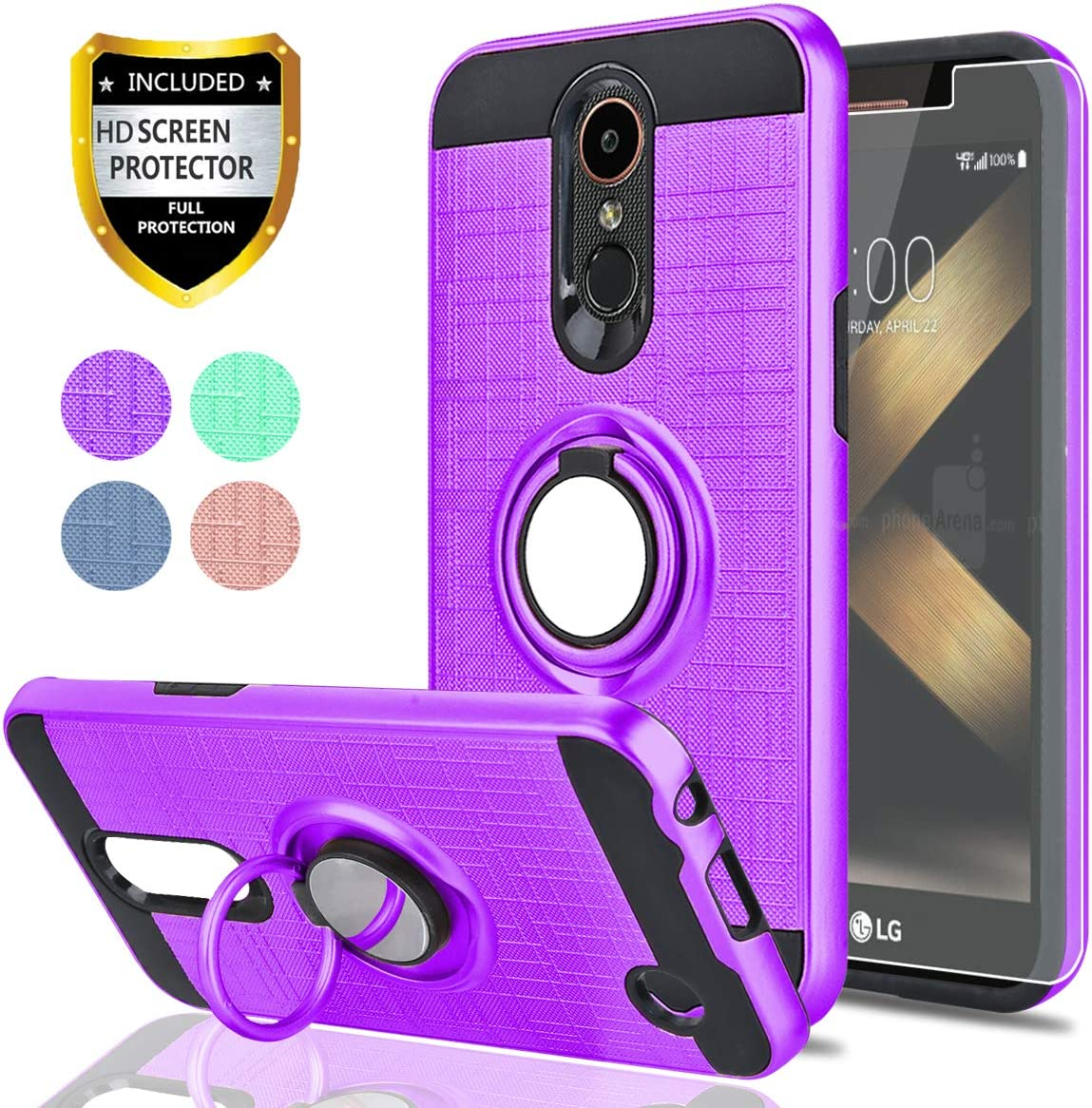 LG K20 Plus/K20 V/Harmony/Grace LTE/K10 2017 Case with HD Screen Protector,Ymhxcy 360 Degree Rotating Ring & Bracket Rubber Dual Layer Shock Bumper Resistant Back Cover for LG LV5-ZH Purple