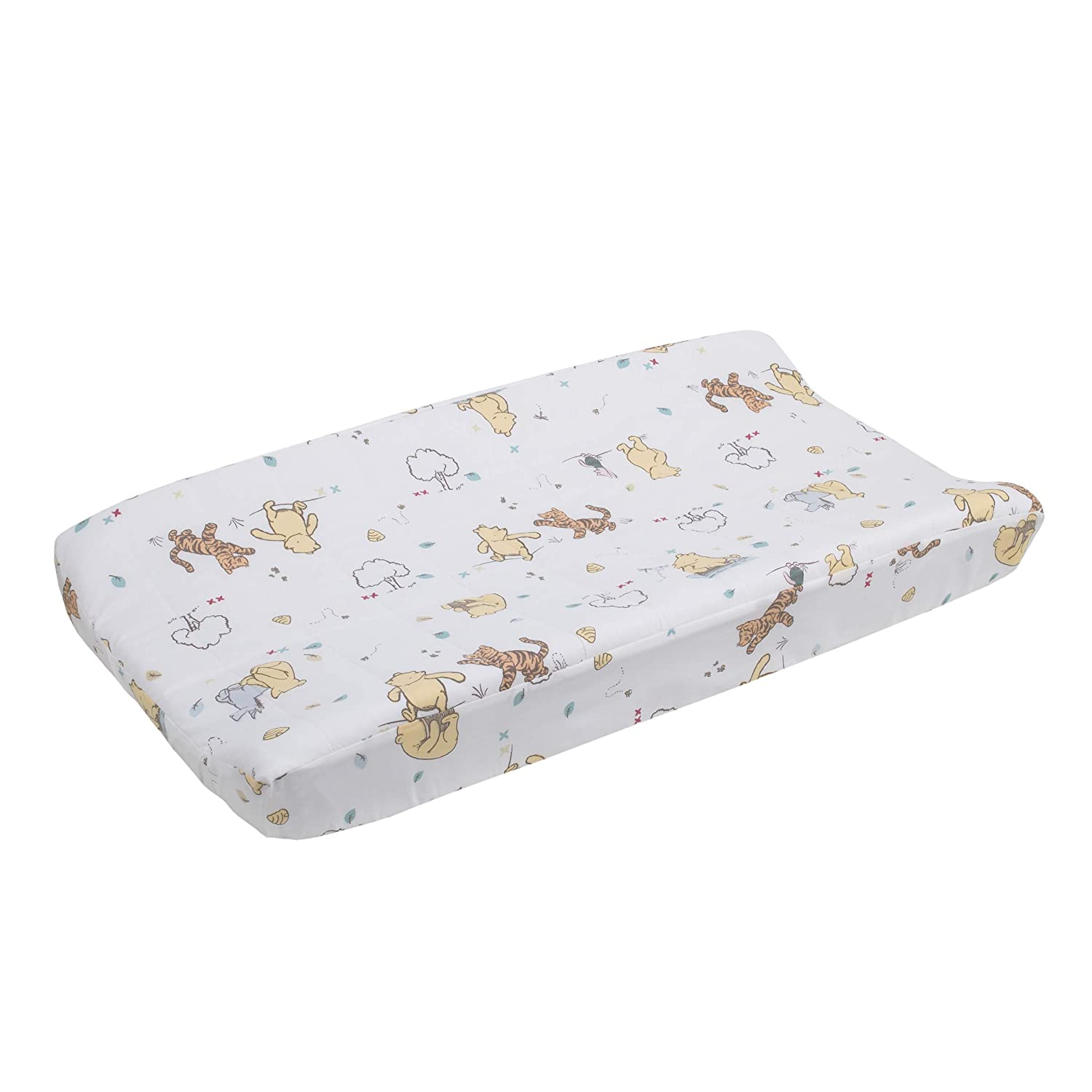 Disney Winnie The Pooh Classic Pooh 100% Cotton Quilted Changing Pad Cover, Ivory/Butter/Aqua/Orange