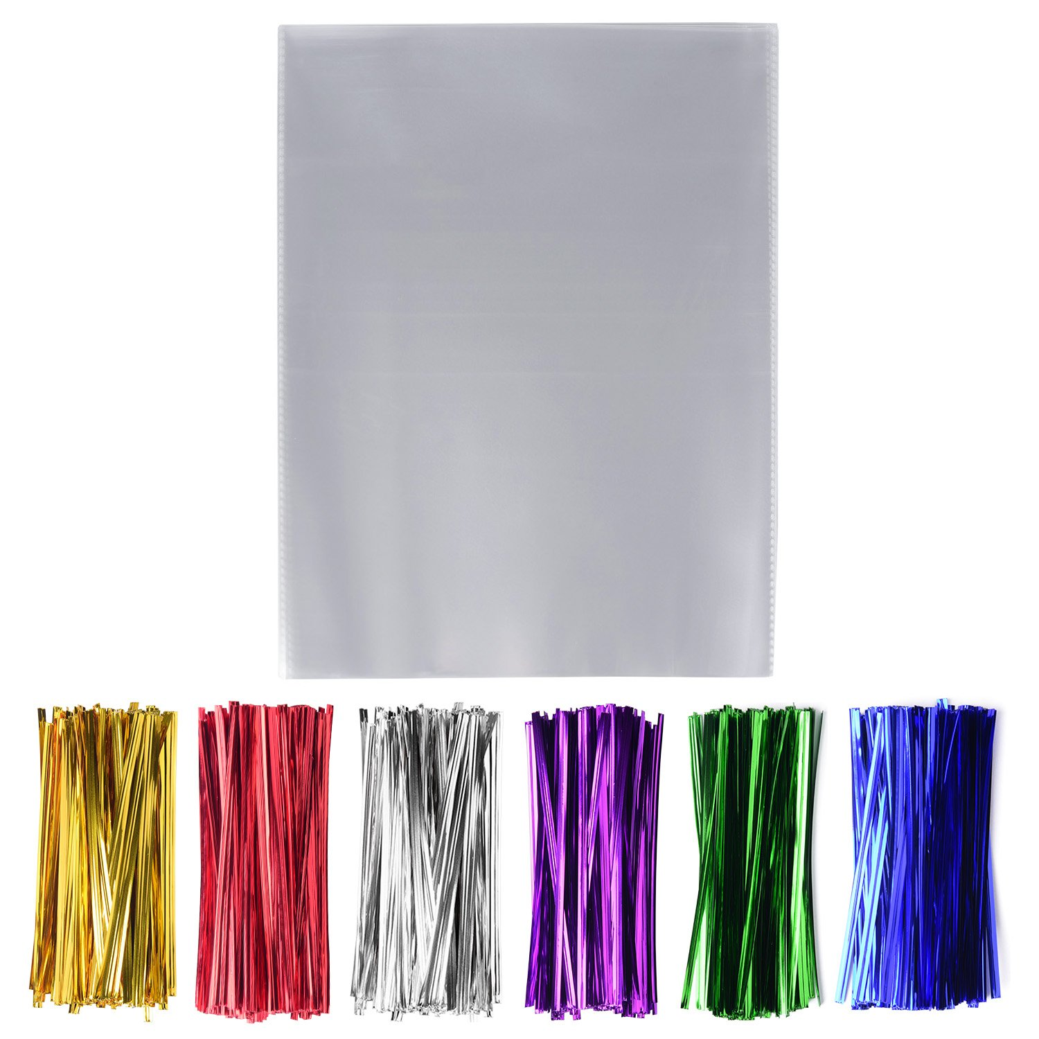 200 Pcs Clear Cello Cellophane Treat Bags - 1.4mil thickness OPP Plastic Bags with 6 Mix Colors Twist Ties Perfect for Wedding Party Cookie Candy Buffet Supply (8'' x 10'')
