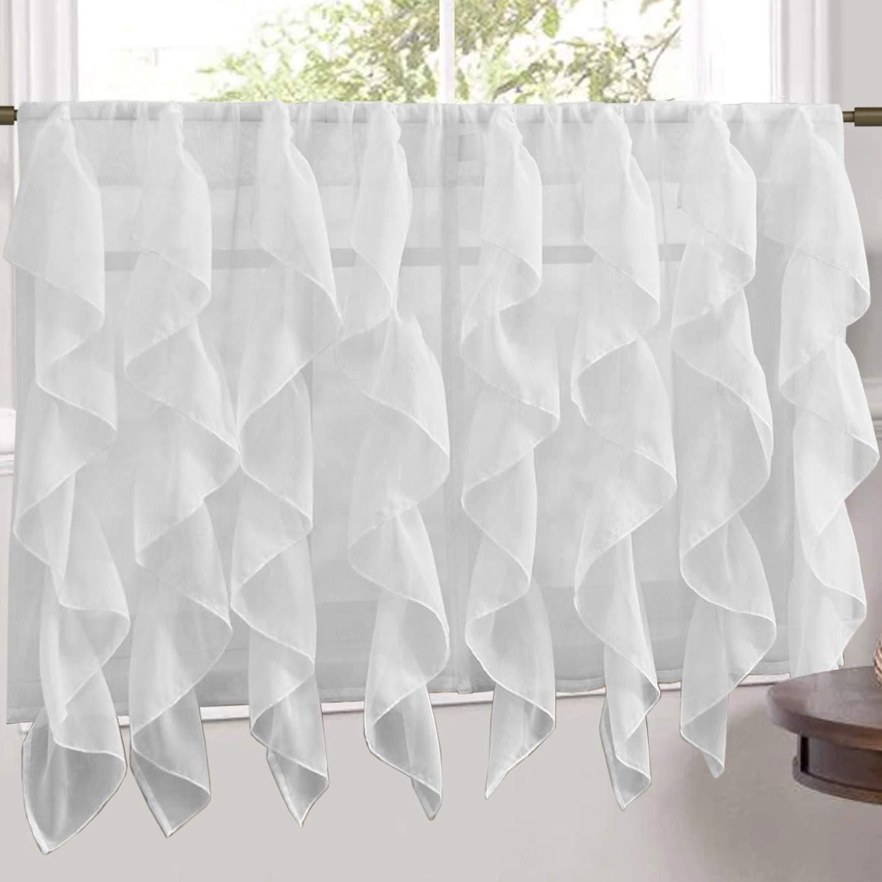 Sweet Home Collection Veritcal Kitchen Curtain Sheer Cascading Ruffle Waterfall Window Treatment - Choice of Valance, 24'' or 36'' Teir, and Kit Tier Pair Only, White