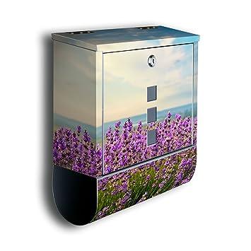 banjado Briefkasten aus Edelstahl mit Motiv Lavendel