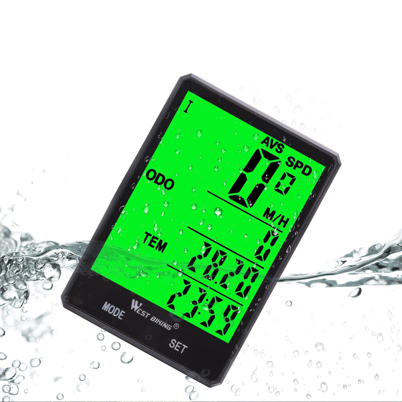 ワイヤレス自転車速度計防水サイクルコンピュータのLCDグリーンバックライト、自転車走行距離サイクリング15機能速度比較レコードAVS SPDウードMXS TM Colockなど、バイクアクセサリーライダー用   B07CBNXC72