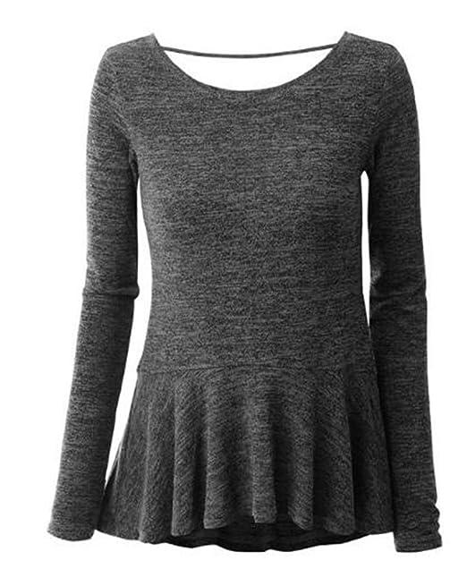 Tayaho Sweater Mujeres Camiseta con Manga Larga Cuello Redondo Camisa Blouses Ligero Stitch Hipster Sudaderas Guapas T Shirt Pullover Sudadera: Amazon.es: ...