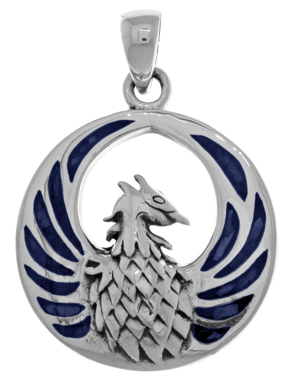 Jewelry Trends Phoenix Fire Bird Sterling Silver Pendant Blue Paua Shell Wings