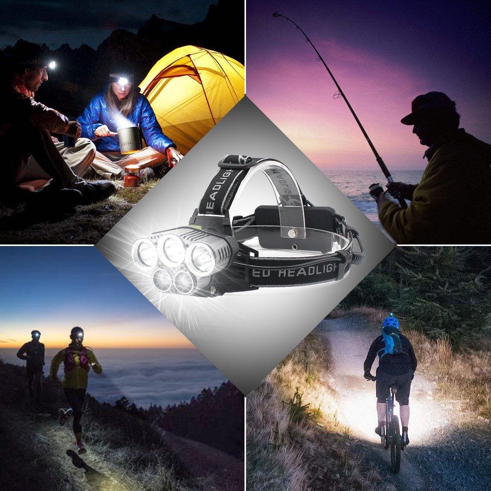 Jirvyuk Lampe Frontale Puissant Lampe Torche LED Zoomable /Étanche 2 x 18650 Batterie Rechargeable de Protection Contre