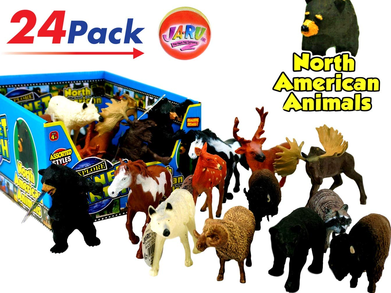 JA-RU North American Animals Realistic Looking (Display Box with 24) and 1 Bouncy Ball Bundle Super Quality | Item #1687-24p