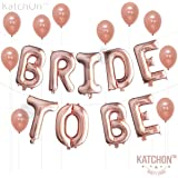 Bride To Be, Rose Gold Bridal Shower Decorations - Great for Bridal Shower Party   Cute Backdrop   16 Inch, Mylar Foil Letter Balloons   Extra Pack of 10 Rose Gold Latex Balloons