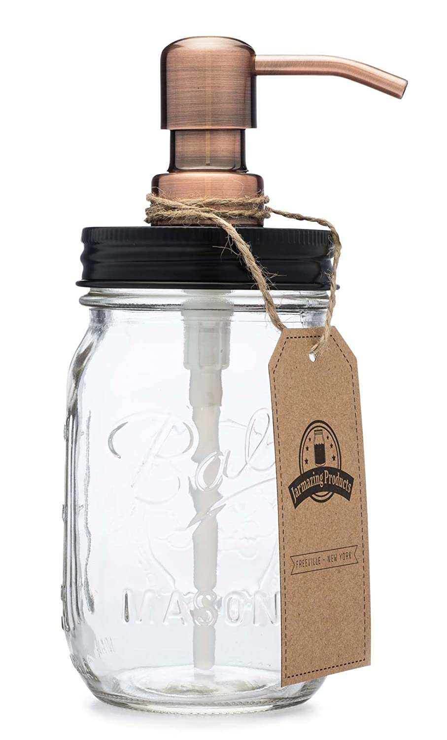 Jarmazing Products Mason Jar Soap Dispenser - Black lid with Copper Pump - With 16 Ounce Ball Mason Jar - Made from Rust Proof Stainless Steel mj-soap-blk-cop-16