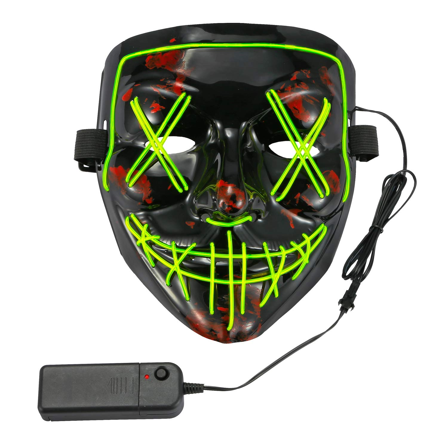 CyanCloud Halloween Mask LED Light Up Scary Glowing Mask EL Wire Light up for Festival Cosplay Party Halloween Costume(Green)... by CyanCloud