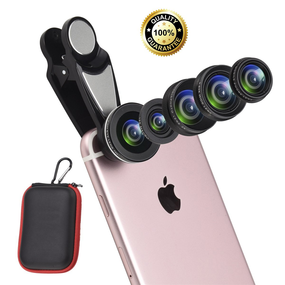 6 in 1 Cell Phone Lens Kit with Case, included Super Fisheye Lens + 0.63x Wide Angle lens + 15x Macro Lens + 2x Telephoto Lens+ Kaleidoscope Lens + CPL polarizer Lens by Febote