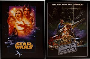 Artissimo Designs (2 Piece Star Wars Canvas Prints Wall Art Décor 18 x 14 Inch Canvas Star Wars A New Hope Empire Strikes Back