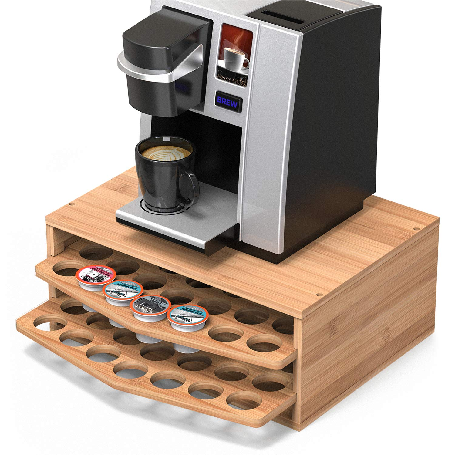WELL WENG 70 Capacity 2-tier Bamboo Coffee Pod Holder Storage Organizer with Drawer for Keurig K-Cup Pods