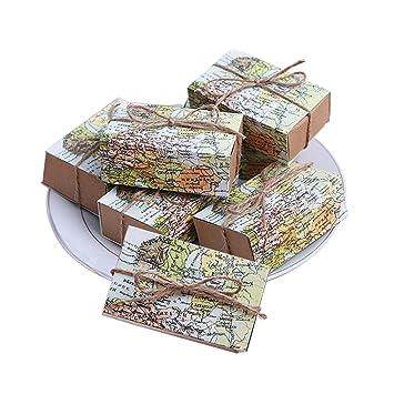 """qmet """"todo el mundo mapa favor cajas regalo boda cajas de Candy, juego"""