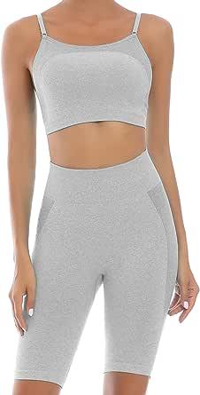 Toplook Women Seamless Workout High Waist Yoga Outfit2 Piece Set Adjustable Strap Sport Bra +Biker Short