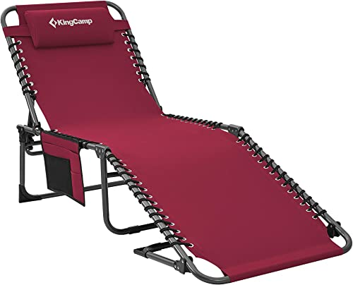 KingCamp Adjustable 4-Position Folding Chaise Lounge Chair