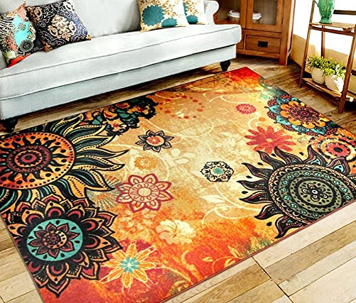EUCH Contemporary Boho Retro Style Abstract Living Room Floor Carpets,Non-Skid Indoor Outdoor Large Area Rugs,52 x75 Lotus