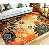 """EUCH Contemporary Boho Retro Style Abstract Living Room Floor Carpets,Non-Skid Indoor/ Outdoor Large Area Rugs,75""""x98"""" Lotus"""